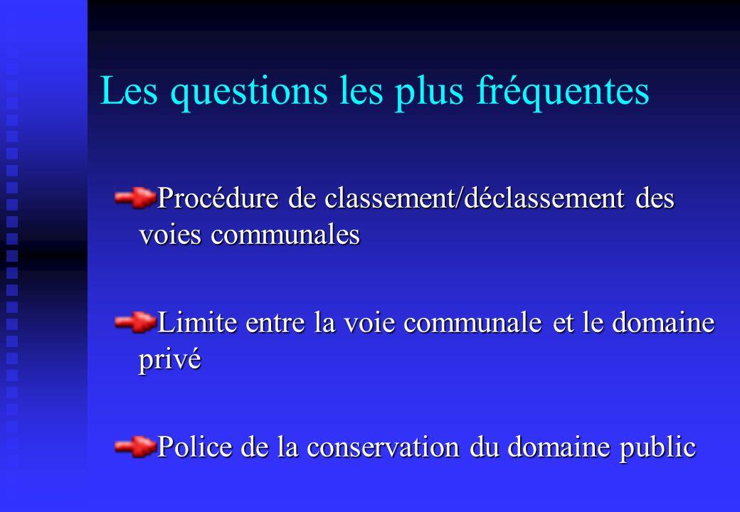 Les questions les plus fréquentes Procédure de classement/déclassement des voies communales Limite entre la voie communale et le domaine privé Police