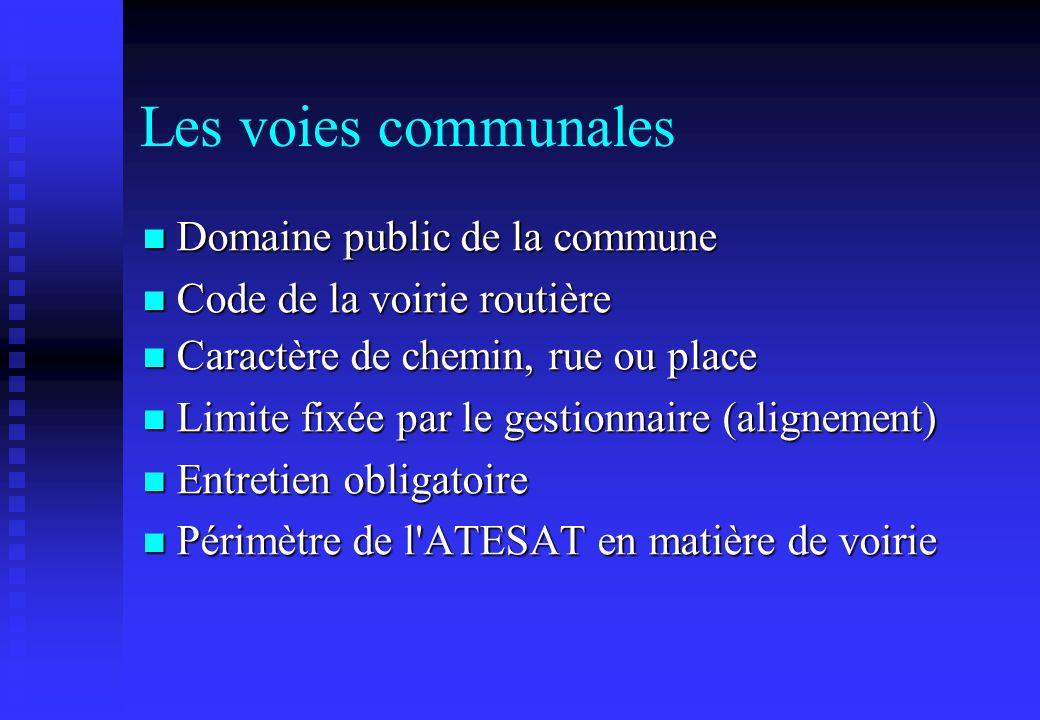 Les voies communales Domaine public de la commune Domaine public de la commune Code de la voirie routière Code de la voirie routière Caractère de chem