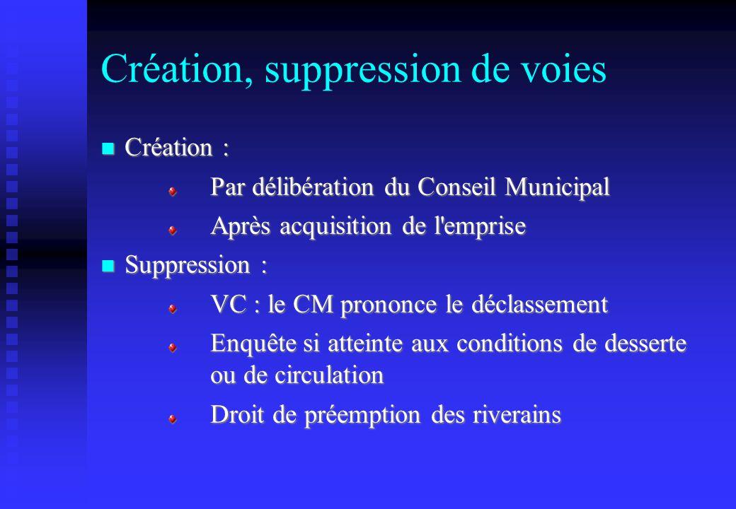 Création, suppression de voies Création : Création : Par délibération du Conseil Municipal Après acquisition de l'emprise Suppression : Suppression :