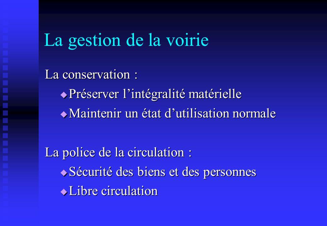 La gestion de la voirie La conservation : Préserver lintégralité matérielle Préserver lintégralité matérielle Maintenir un état dutilisation normale M