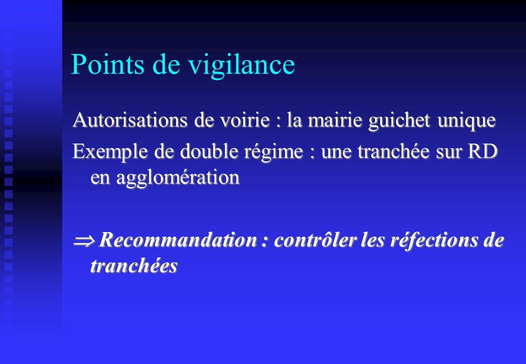 Points de vigilance Autorisations de voirie : la mairie guichet unique Exemple de double régime : une tranchée sur RD en agglomération Recommandation
