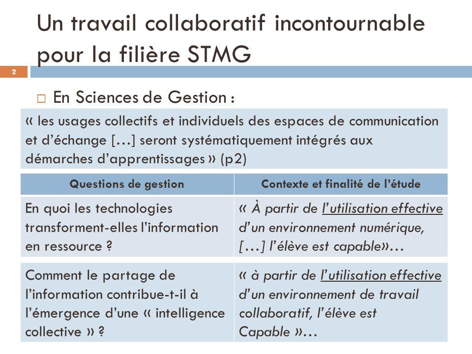Un travail collaboratif incontournable pour la filière STMG En Sciences de Gestion : Questions de gestionContexte et finalité de létude En quoi les te