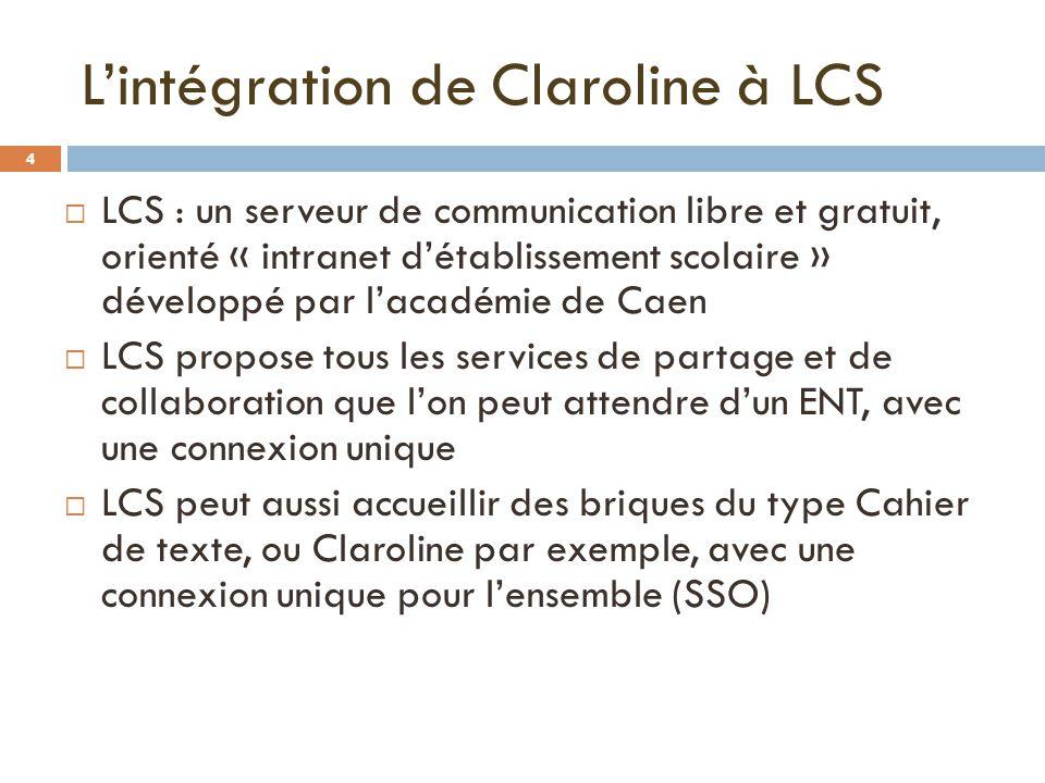 Lintégration de Claroline à LCS LCS : un serveur de communication libre et gratuit, orienté « intranet détablissement scolaire » développé par lacadém