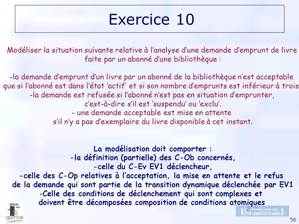 56 Exercice 10 Modéliser la situation suivante relative à lanalyse dune demande demprunt de livre faite par un abonné dune bibliothèque : -la demande