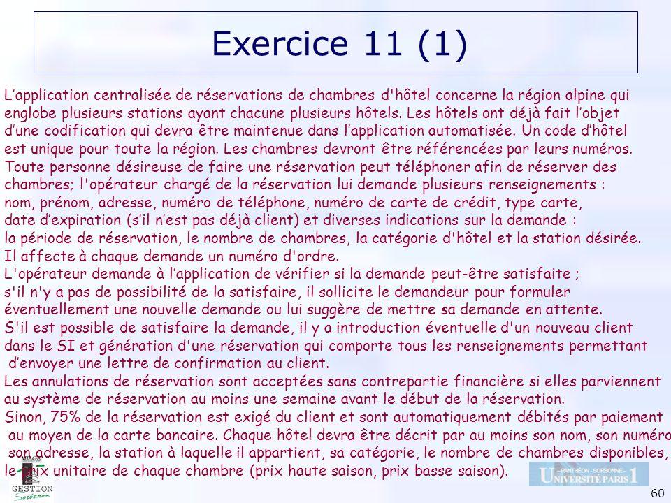 60 Exercice 11 (1) Lapplication centralisée de réservations de chambres d'hôtel concerne la région alpine qui englobe plusieurs stations ayant chacune