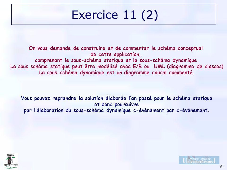 61 Exercice 11 (2) On vous demande de construire et de commenter le schéma conceptuel de cette application, comprenant le sous-schéma statique et le s