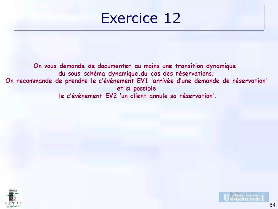 64 Exercice 12 On vous demande de documenter au moins une transition dynamique du sous-schéma dynamique.du cas des réservations; On recommande de pren