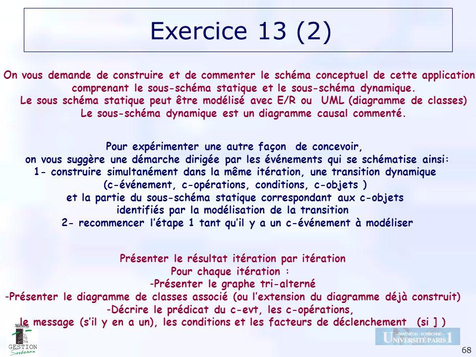 68 Exercice 13 (2) On vous demande de construire et de commenter le schéma conceptuel de cette application, comprenant le sous-schéma statique et le s