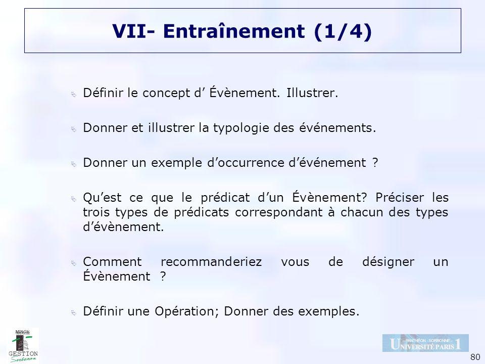 80 VII- Entraînement (1/4) Définir le concept d Évènement. Illustrer. Donner et illustrer la typologie des événements. Donner un exemple doccurrence d