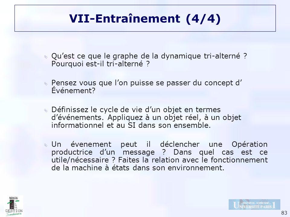 83 VII-Entraînement (4/4) Quest ce que le graphe de la dynamique tri-alterné ? Pourquoi est-il tri-alterné ? Pensez vous que lon puisse se passer du c