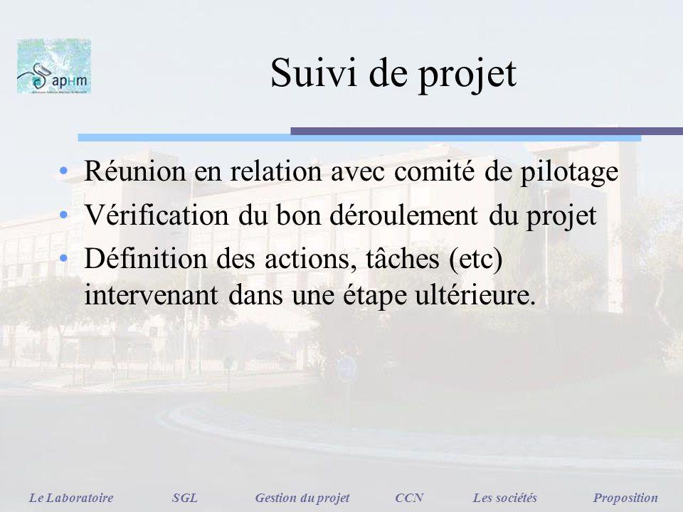 Suivi de projet Réunion en relation avec comité de pilotage Vérification du bon déroulement du projet Définition des actions, tâches (etc) intervenant