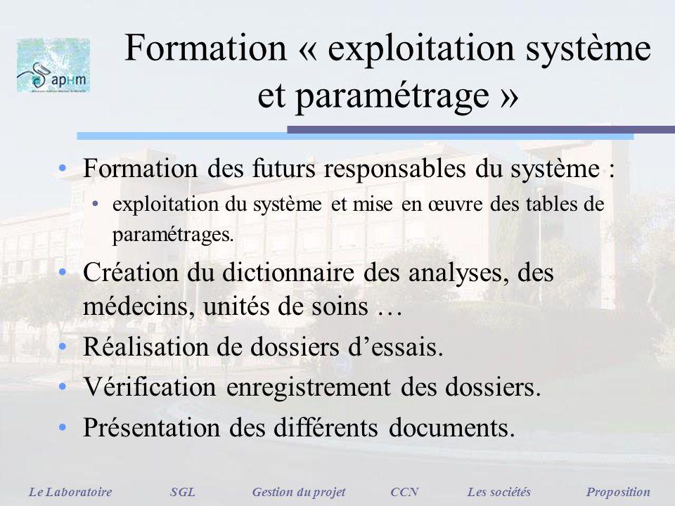 Formation « exploitation système et paramétrage » Formation des futurs responsables du système : exploitation du système et mise en œuvre des tables d