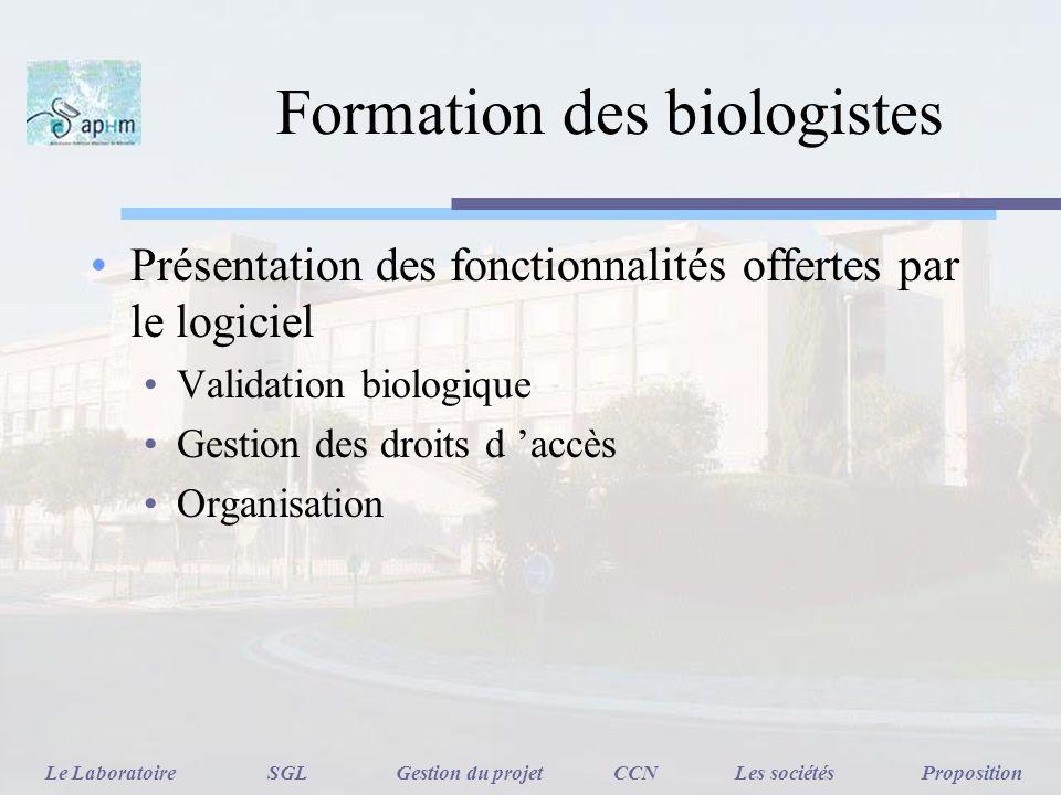 Formation des biologistes Présentation des fonctionnalités offertes par le logiciel Validation biologique Gestion des droits d accès Organisation Le L
