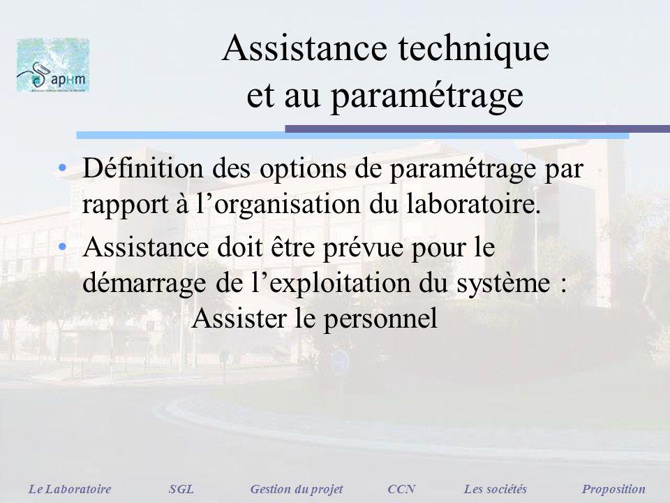 Assistance technique et au paramétrage Définition des options de paramétrage par rapport à lorganisation du laboratoire. Assistance doit être prévue p