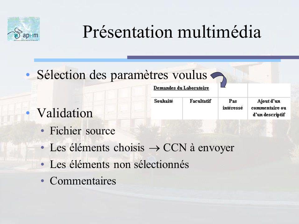 Présentation multimédia Sélection des paramètres voulus Validation Fichier source Les éléments choisis CCN à envoyer Les éléments non sélectionnés Com
