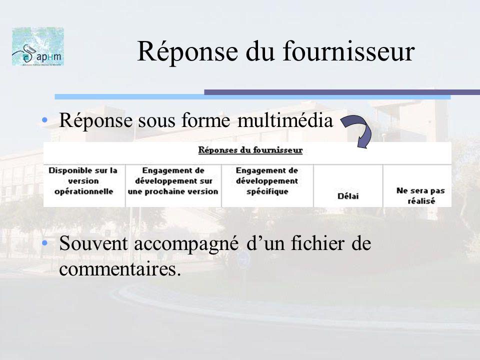 Réponse du fournisseur Réponse sous forme multimédia Souvent accompagné dun fichier de commentaires.