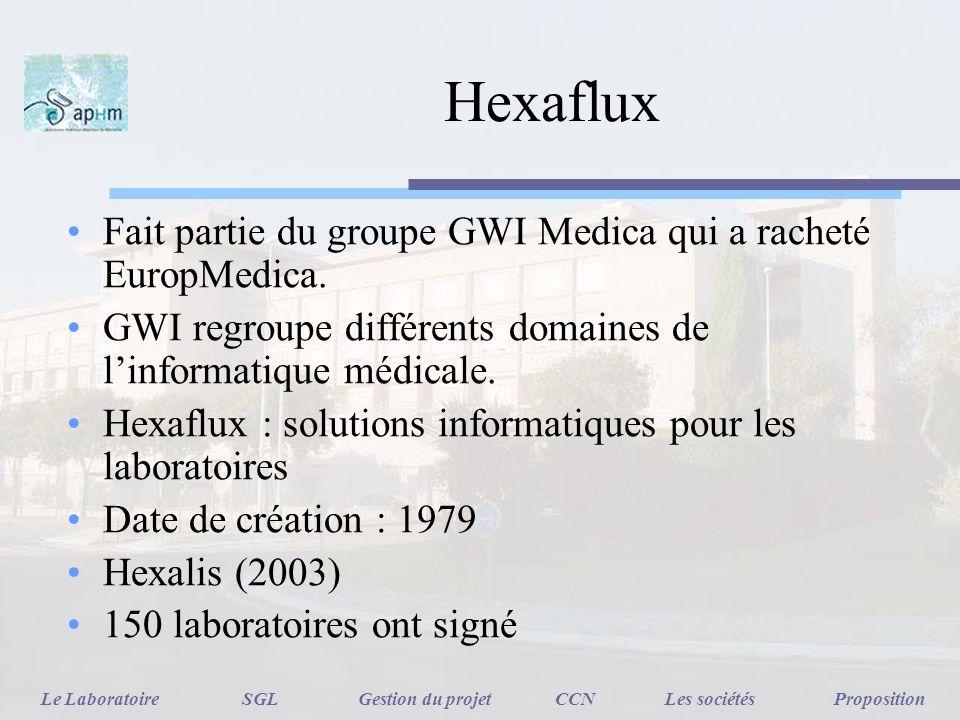Hexaflux Fait partie du groupe GWI Medica qui a racheté EuropMedica. GWI regroupe différents domaines de linformatique médicale. Hexaflux : solutions