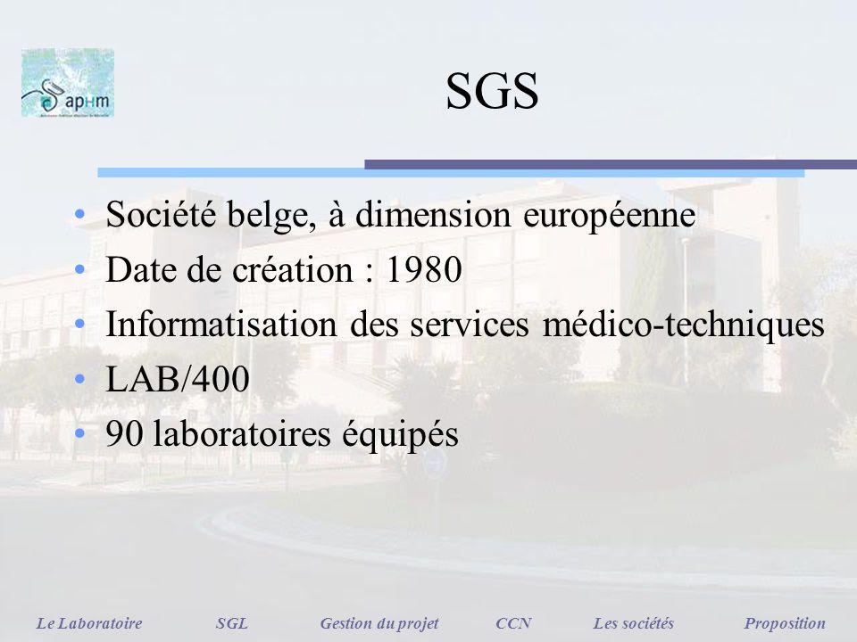 SGS Société belge, à dimension européenne Date de création : 1980 Informatisation des services médico-techniques LAB/400 90 laboratoires équipés Le La