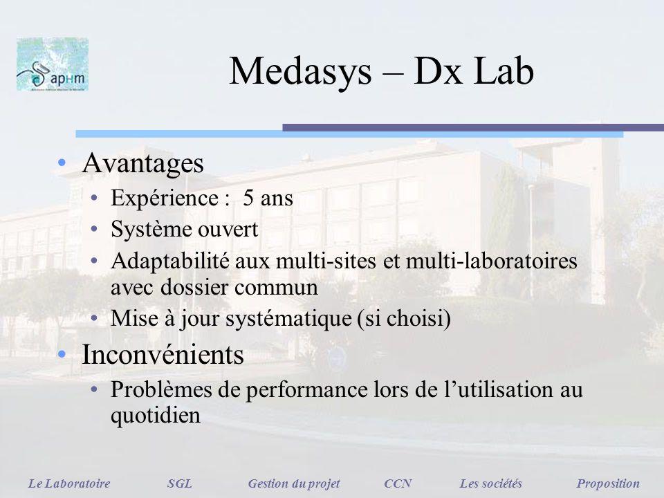 Medasys – Dx Lab Avantages Expérience : 5 ans Système ouvert Adaptabilité aux multi-sites et multi-laboratoires avec dossier commun Mise à jour systém