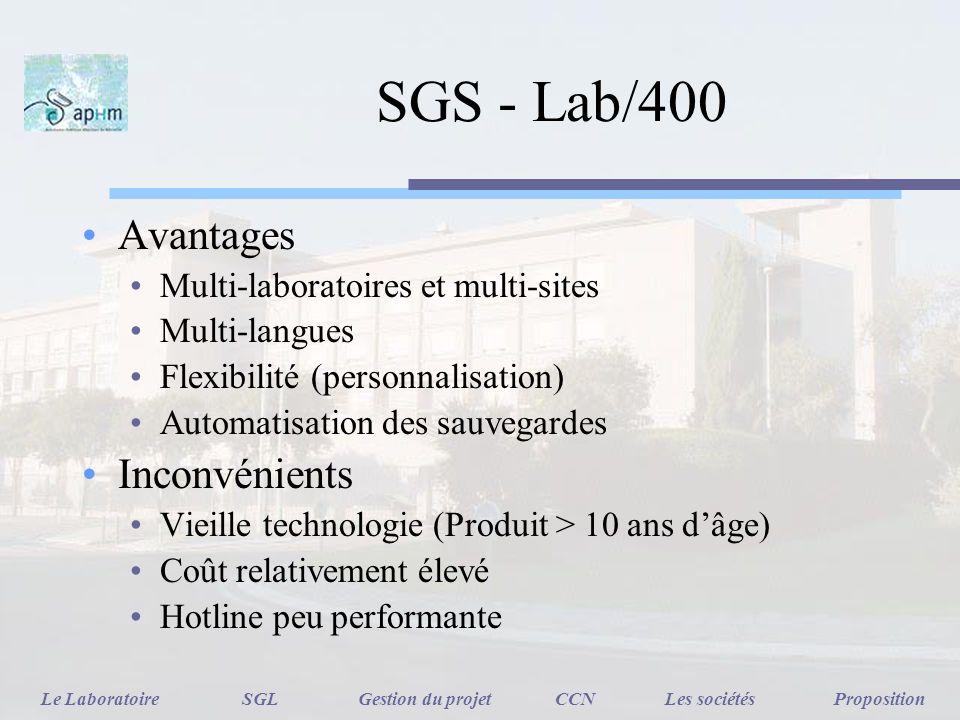SGS - Lab/400 Avantages Multi-laboratoires et multi-sites Multi-langues Flexibilité (personnalisation) Automatisation des sauvegardes Inconvénients Vi