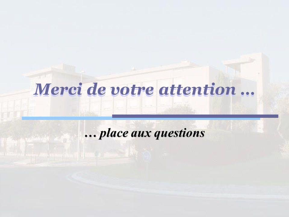 Merci de votre attention … … place aux questions Merci de votre attention …