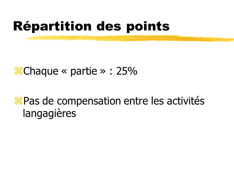 Répartition des points zChaque « partie » : 25% zPas de compensation entre les activités langagières