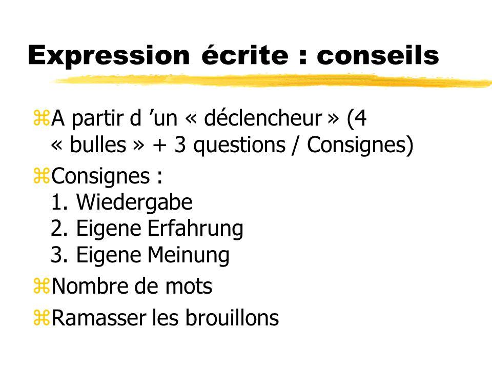 Expression écrite : conseils zA partir d un « déclencheur » (4 « bulles » + 3 questions / Consignes) zConsignes : 1.