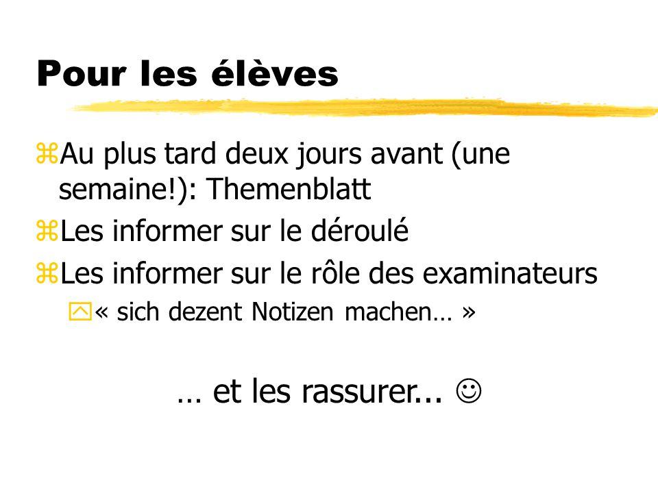 Pour les élèves zAu plus tard deux jours avant (une semaine!): Themenblatt zLes informer sur le déroulé zLes informer sur le rôle des examinateurs y« sich dezent Notizen machen… » … et les rassurer...