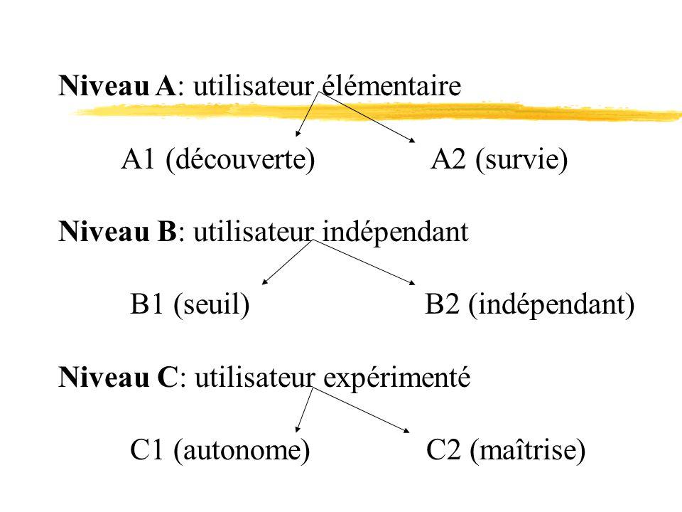 Niveau A: utilisateur élémentaire A1 (découverte) A2 (survie) Niveau B: utilisateur indépendant B1 (seuil) B2 (indépendant) Niveau C: utilisateur expérimenté C1 (autonome) C2 (maîtrise)