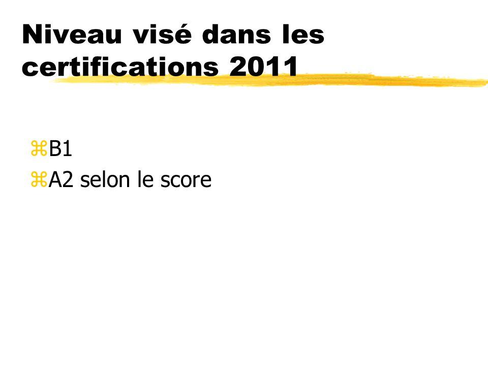 Niveau visé dans les certifications 2011 zB1 zA2 selon le score