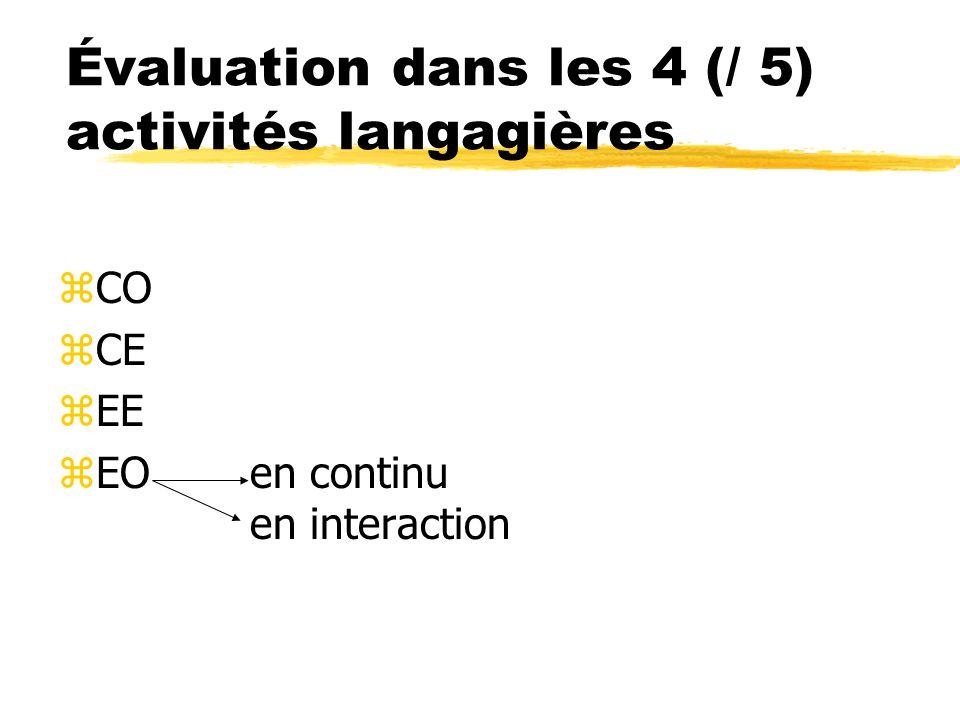 Évaluation dans les 4 (/ 5) activités langagières zCO zCE zEE zEOen continu en interaction