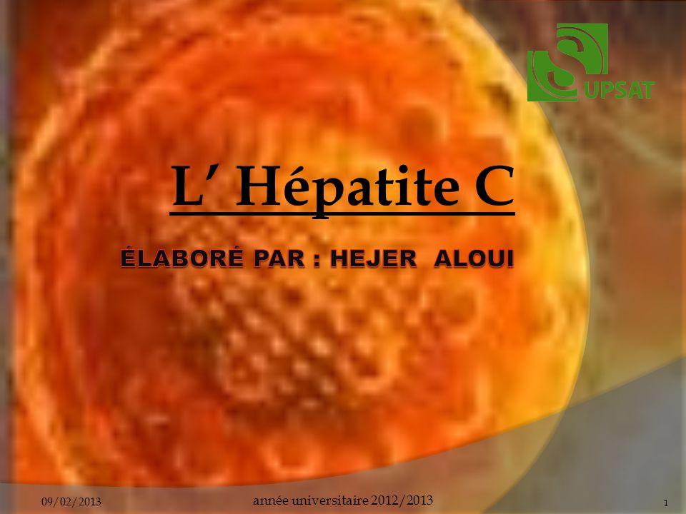 Plan Définition Virologie Génotype Signes et symptômes Hépatite C aigu Hépatite C chronique Diagnostic biologique Transmission Traitement Prévention conclusion 09/02/2013année universitaire 2012/20132
