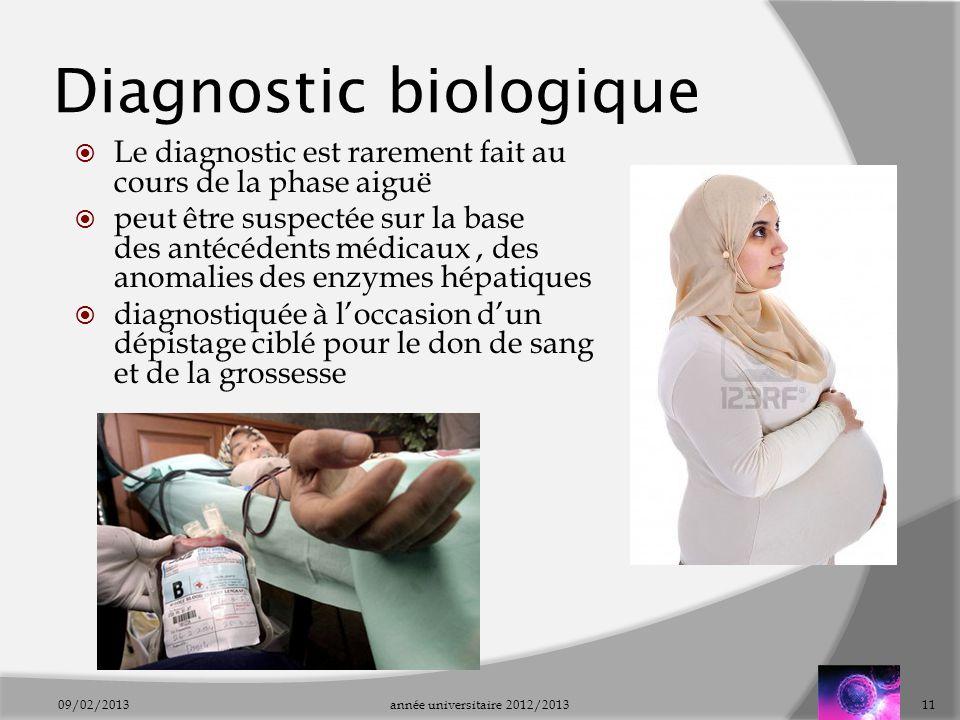 Diagnostic biologique Le diagnostic est rarement fait au cours de la phase aiguë peut être suspectée sur la base des antécédents médicaux, des anomali