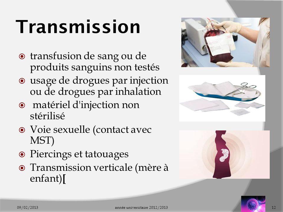 Transmission transfusion de sang ou de produits sanguins non testés usage de drogues par injection ou de drogues par inhalation matériel d'injection n