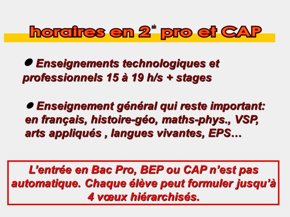 Enseignements technologiques et professionnels 15 à 19 h/s + stages Enseignement général qui reste important: en français, histoire-géo, maths-phys., VSP, arts appliqués, langues vivantes, EPS… Lentrée en Bac Pro, BEP ou CAP nest pas automatique.