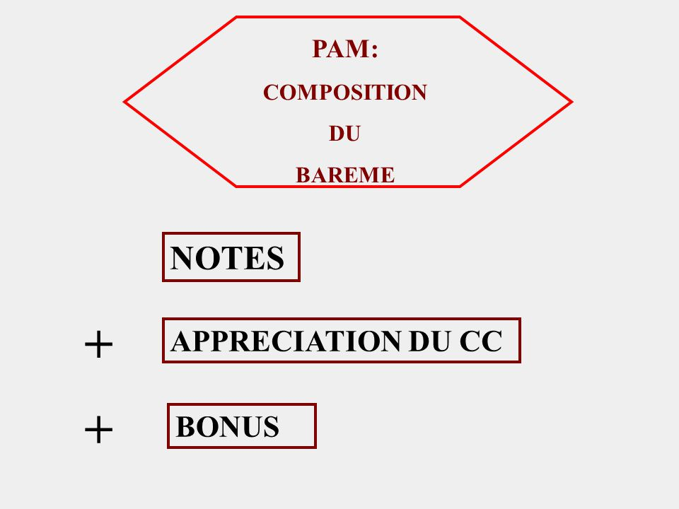 PAM: COMPOSITION DU BAREME NOTES APPRECIATION DU CC BONUS + +