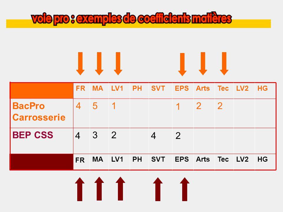 LV2TecEPSSVTPH HGLV2EPSSVTPH BEP CSS BacPro Carrosserie 4 FR 5 MA 1 LV1 2 Arts 2 Tec FR 4 MA 3 LV1 2 HG 1 4 Arts 2
