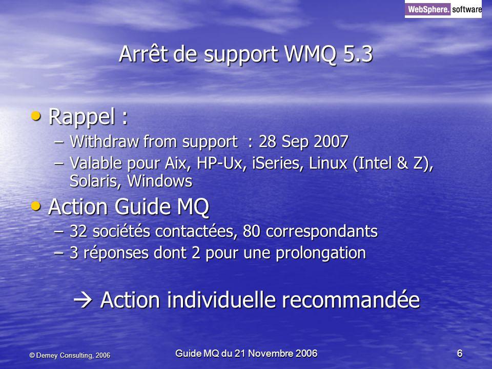 © Demey Consulting, 2006 Guide MQ du 21 Novembre 20066 Arrêt de support WMQ 5.3 Rappel : Rappel : –Withdraw from support : 28 Sep 2007 –Valable pour Aix, HP-Ux, iSeries, Linux (Intel & Z), Solaris, Windows Action Guide MQ Action Guide MQ –32 sociétés contactées, 80 correspondants –3 réponses dont 2 pour une prolongation Action individuelle recommandée Action individuelle recommandée