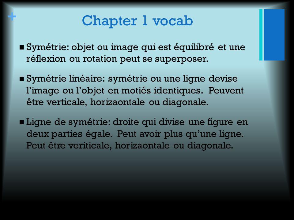 + Chapter 1 vocab Symétrie: objet ou image qui est équilibré et une réflexion ou rotation peut se superposer. Symétrie linéaire: symétrie ou une ligne