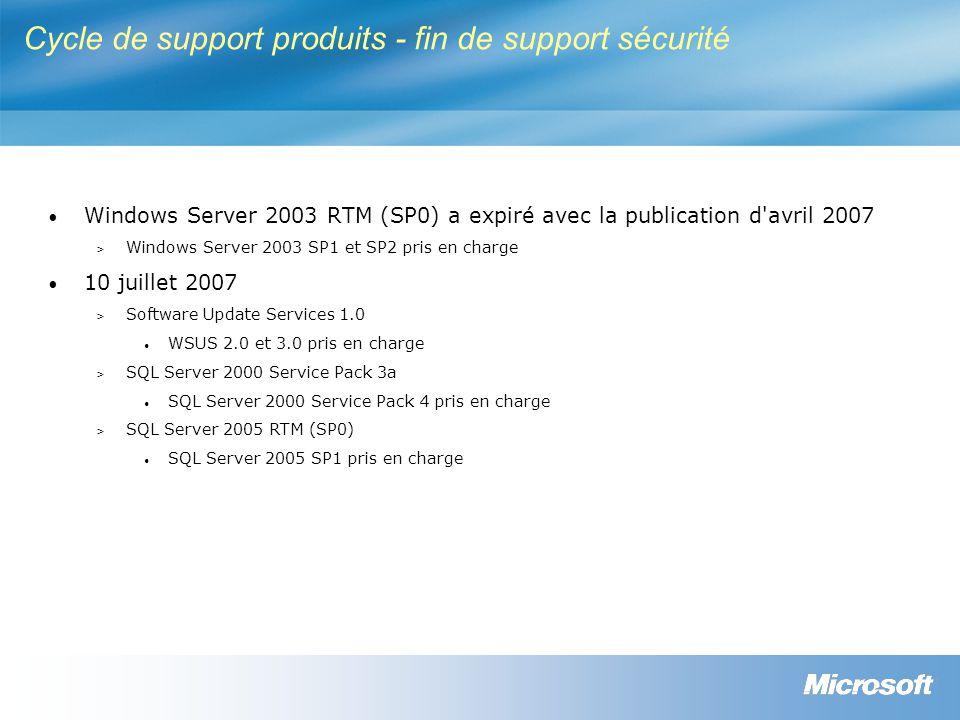 Cycle de support produits - fin de support sécurité Windows Server 2003 RTM (SP0) a expiré avec la publication d avril 2007 > Windows Server 2003 SP1 et SP2 pris en charge 10 juillet 2007 > Software Update Services 1.0 WSUS 2.0 et 3.0 pris en charge > SQL Server 2000 Service Pack 3a SQL Server 2000 Service Pack 4 pris en charge > SQL Server 2005 RTM (SP0) SQL Server 2005 SP1 pris en charge