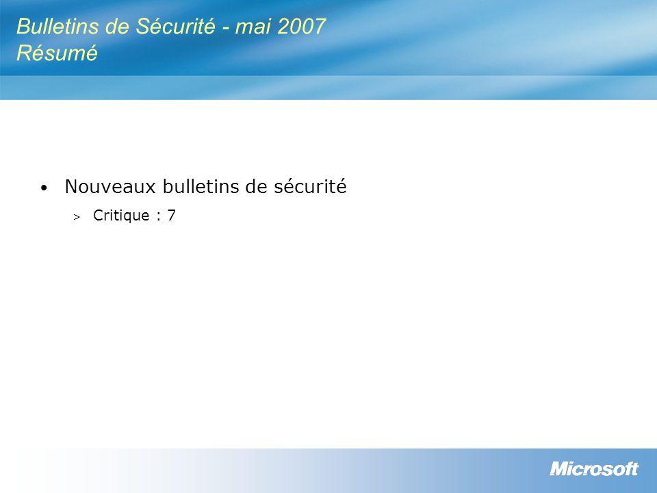 Bulletins de Sécurité - mai 2007 Résumé Nouveaux bulletins de sécurité > Critique : 7