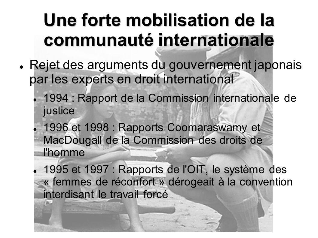 Rejet des arguments du gouvernement japonais par les experts en droit international 1994 : Rapport de la Commission internationale de justice 1996 et