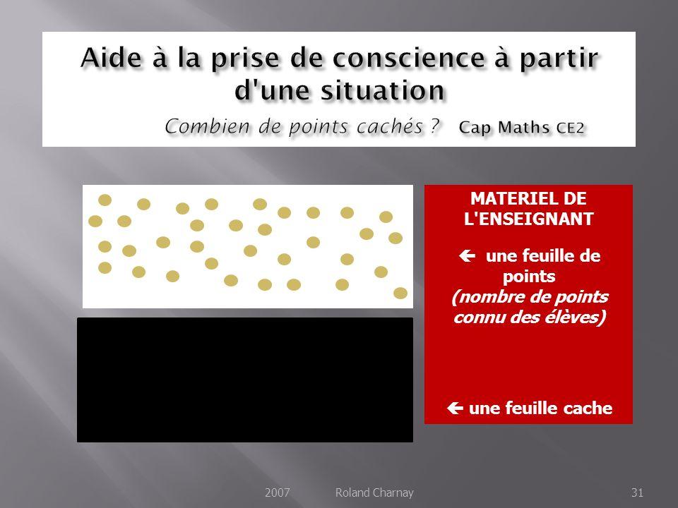 2007 Roland Charnay31 MATERIEL DE L ENSEIGNANT une feuille de points (nombre de points connu des élèves) une feuille cache