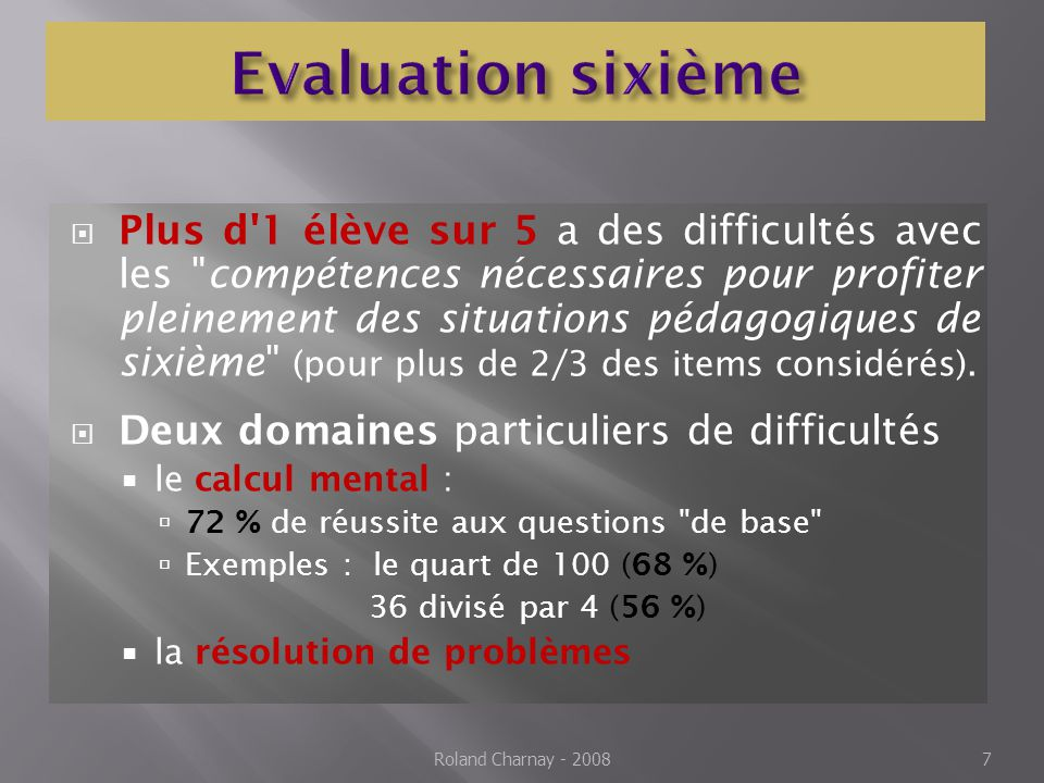 Des élèves plus angoissés que les autres face aux mathématiques Une faiblesse particulière lorsqu il faut prendre des initiatives, expérimenter (faire des essais, critiquer, recommencer…) Roland Charnay - 20088