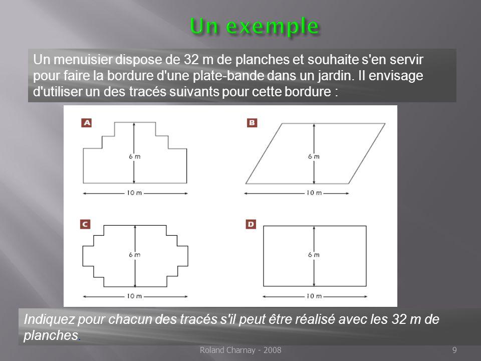 9 Un exemple Un menuisier dispose de 32 m de planches et souhaite s en servir pour faire la bordure d une plate-bande dans un jardin.