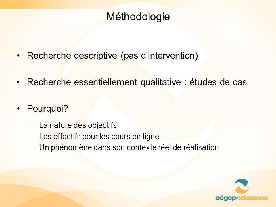 Méthodologie Recherche descriptive (pas dintervention) Recherche essentiellement qualitative : études de cas Pourquoi? –La nature des objectifs –Les e