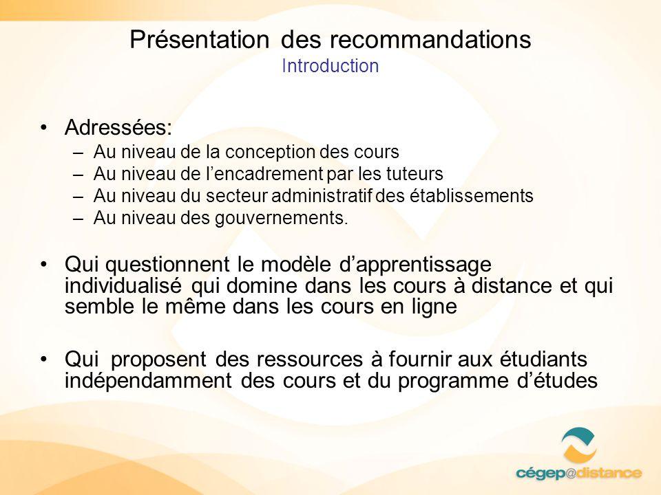 Présentation des recommandations Introduction Adressées: –Au niveau de la conception des cours –Au niveau de lencadrement par les tuteurs –Au niveau d