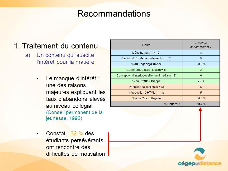 Recommandations 1. Traitement du contenu a)Un contenu qui suscite lintérêt pour la matière Le manque dintérêt : une des raisons majeures expliquant le