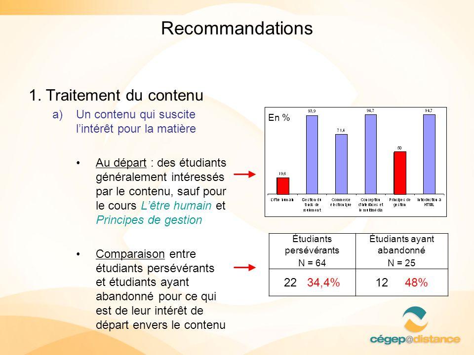 Recommandations 1. Traitement du contenu a)Un contenu qui suscite lintérêt pour la matière Au départ : des étudiants généralement intéressés par le co