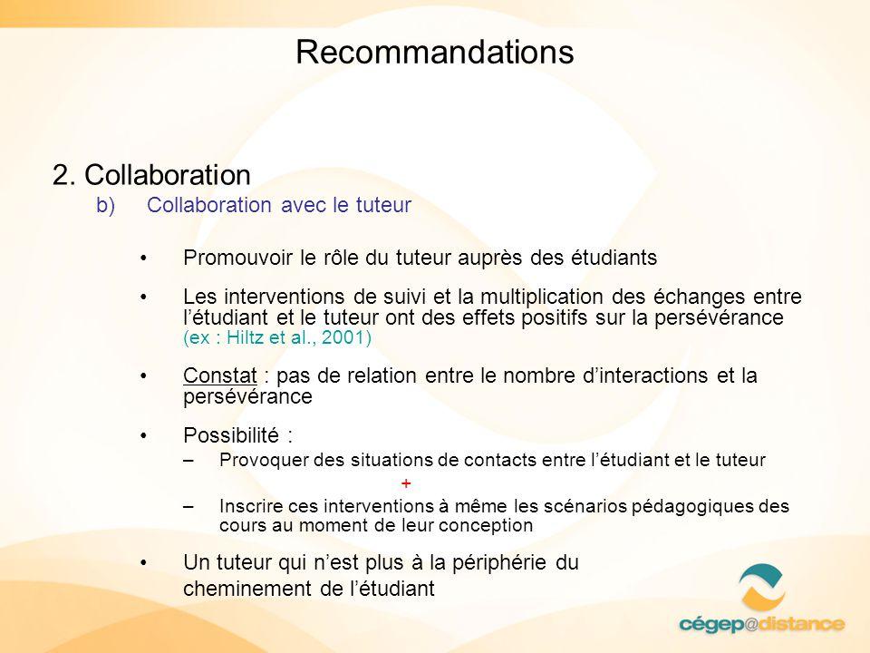 Recommandations 2. Collaboration b)Collaboration avec le tuteur Promouvoir le rôle du tuteur auprès des étudiants Les interventions de suivi et la mul